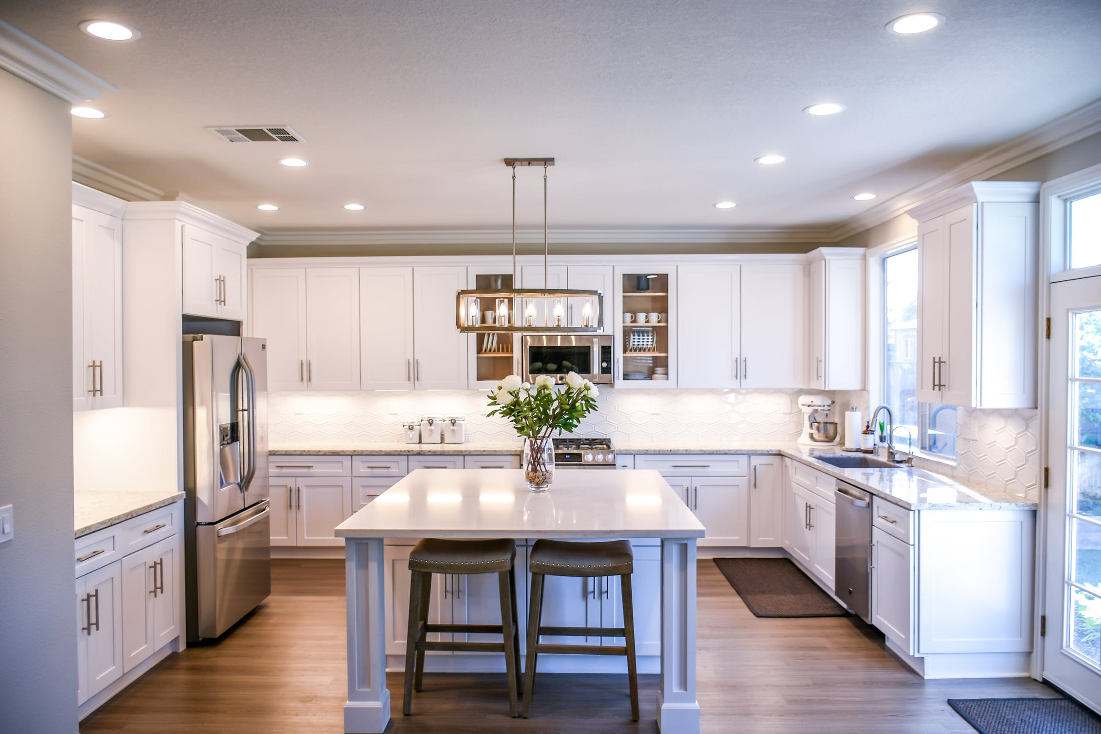 new kitchen with vibrant lighting